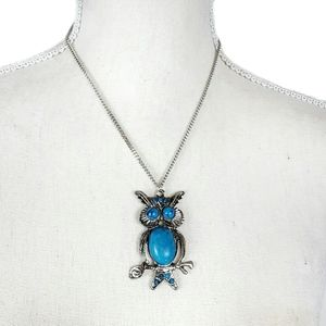Jewelry - Silver and Faux Turquoise Owl Necklace